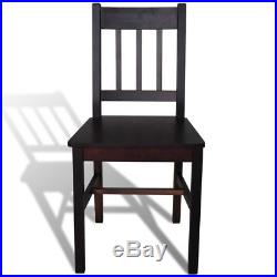 VidaXL 4x Dining Chair Solid Pinewood Brown Kitchen Living Room Side Seats
