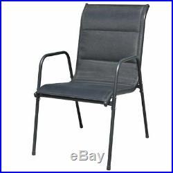 VidaXL 6x Outdoor Dining Chairs Stackable Metal Black Garden Patio Dinner Seat