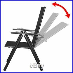 VidaXL 9 Piece Folding Outdoor Dining Set Aluminum Black Chair Recliner Table