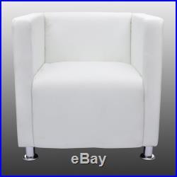 VidaXL Armchair Club White Artificial Leather Modern Tub Design Seating Home