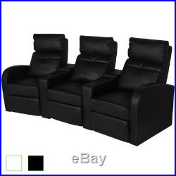 VidaXL Artificial Leather 3-Seat Home Theater Sofa Lounge Home Black/White