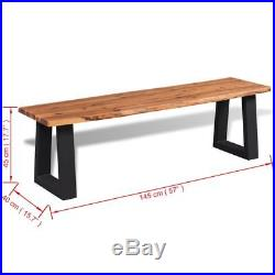 VidaXL Bench Solid Acacia Wood Top Metal Base Industrial Hallway Home Seat 57
