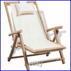 VidaXL Deck Chair Bamboo Folding Patio Garden Outdoor Sunlounger Recliner