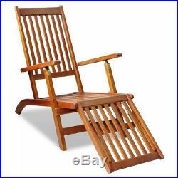 VidaXL Footrest Acacia Wood Outdoor Deck Chair Garden Chaise Lounger Seating