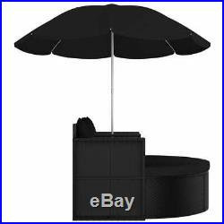VidaXL Garden Bed with Parasol Poly Rattan Black Sun Lounger Seating Daybed
