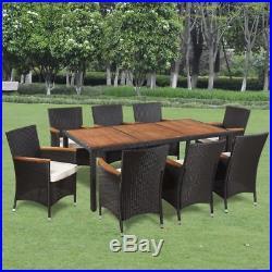 VidaXL Garden Dining Set 17 Piece Acacia Poly Rattan Wicker Outdoor Furniture