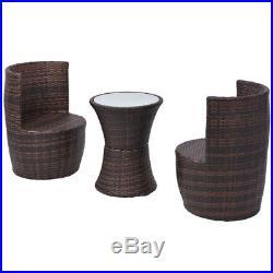 VidaXL Garden Furniture Set 5 Piece Poly Rattan Wicker Brown Outdoor Dining