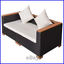 VidaXL Garden Sofa Set 6 Piece Wicker Poly Rattan WPC Outdoor Lounge Seat