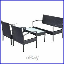 VidaXL Garden Sofa Set 7 Pieces Wicker Poly Rattan Black Chair Furniture Table