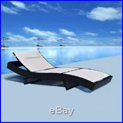 VidaXL Garden Sun Lounger Poly Rattan Wicker Outdoor Day Bed Chair Recliner