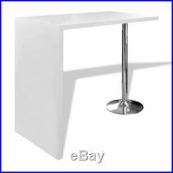 VidaXL High Gloss Bar Pub Coffee Dining Table Breakfast With 1 Steel Leg White