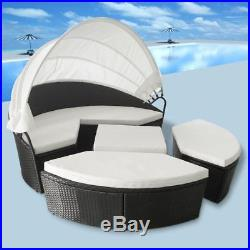 VidaXL Lounge Set 2-in-1 Canopy 11 Piece Rattan Wicker Patio Sunlounger Daybed