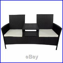 Terrific Vidaxl Outdoor Bench Two Seater Poly Rattan Wicker Black Frankydiablos Diy Chair Ideas Frankydiabloscom