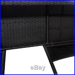 VidaXL Outdoor Bench Two-Seater Poly Rattan Wicker Black Garden 2 Seats Table