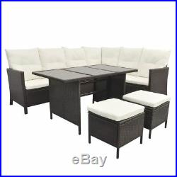 VidaXL Outdoor Dining Lounge Set 16 PCS Rattan Wicker Patio Garden Sofa 2 Colors