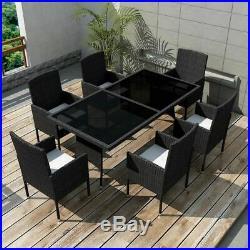 VidaXL Outdoor Dining Set 13 Pieces Poly Rattan Wicker Black Garden Chair Seat