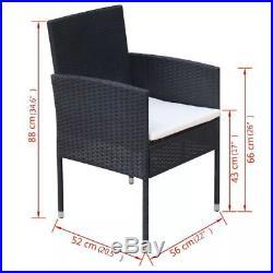 VidaXL Outdoor Dining Set Poly Rattan Wicker Black Garden Seater 4 Chair Table