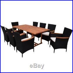 VidaXL Outdoor Dining Set Poly Rattan Wicker Garden Furniture Chairs Table