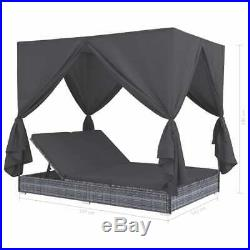 VidaXL Outdoor Lounge Bed with Curtains Poly Rattan Gray Chaise Lounge Sofa
