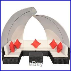 VidaXL Outdoor Lounge Set Canopy 34 Piece Poly Rattan Wicker Black Garden Sofa