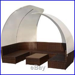 VidaXL Outdoor Lounge Set Canopy 34 Piece Poly Rattan Wicker Brown Garden Sofa
