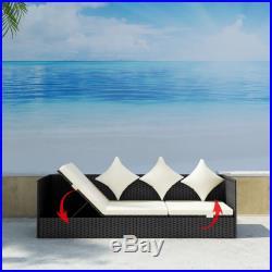 VidaXL Outdoor Sofa 3-Seat Poly Rattan Black Wicker Convertible Chaise Lounge