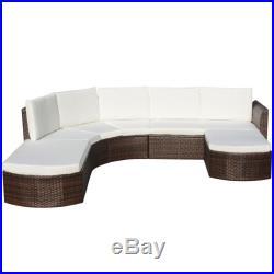 VidaXL Outdoor Sofa Set Wicker Poly Rattan Brown Garden Lounge Set Furniture