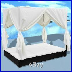 VidaXL Outdoor Sun Lounger Poly Rattan Wicker Black 2-Person Bed Curtain Patio