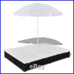 VidaXL Outdoor Sun Lounger Poly Rattan Wicker Black 2-Person Umbrella Patio