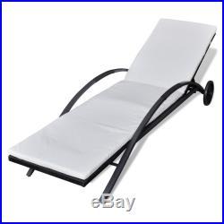 VidaXL Outdoor Sun Lounger Poly Rattan Wicker Black Bed Chaise Lounge Garden