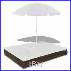 VidaXL Outdoor Sun Lounger Poly Rattan Wicker Brown 2-Person Umbrella Patio