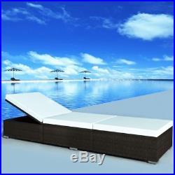 VidaXL Outdoor Sun Lounger Poly Rattan Wicker Brown Bed Recliner Chaise Garden