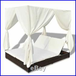 VidaXL Outdoor Sun Lounger Poly Rattan Wicker Brown Double Beds Curtain Seat
