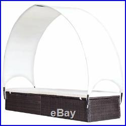 VidaXL Outdoor Sun Lounger Poly Rattan Wicker Brown Garden Day Lounge Bed