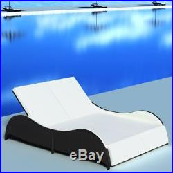 VidaXL Outdoor Sun Lounger Wicker Poly Rattan Black 2 Persons Double Day Bed