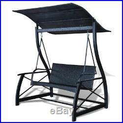 VidaXL Outdoor Swing Bench Poly Rattan Wicker Black Hammock Chair Seat Lounger