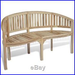 Superb Vidaxl Patio Garden Teak Curved Banana Wooden Bench Chair Gmtry Best Dining Table And Chair Ideas Images Gmtryco