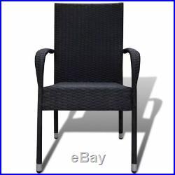 VidaXL Patio Rattan Wicker Dining Chairs Outdoor Garden 2 pcs Armchairs 2 Colors