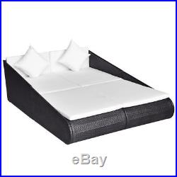 VidaXL Patio Rattan Wicker Garden Furniture Day Bed Sun Lounger Outdoor Black