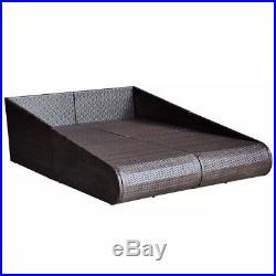 VidaXL Patio Rattan Wicker Garden Furniture Day Bed Sun Lounger Outdoor Brown