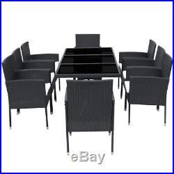 VidaXL Patio Rattan Wicker Garden Seater Dining Set 8 Chair Table Glass Black