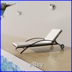 VidaXL Patio Rattan Wicker Pool Sunbed Lounger Garden Hotel Chaise Chair Brown