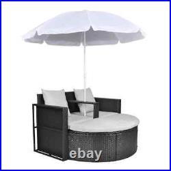 VidaXL Patio Sofa Set with Parasol Poly Rattan Outdoor Sun Day Bed Multi Colors