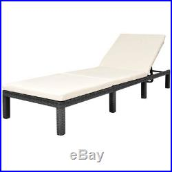 VidaXL Patio Sun Lounger Poly Rattan Wicker Black Recliner Outdoor Garden Bed