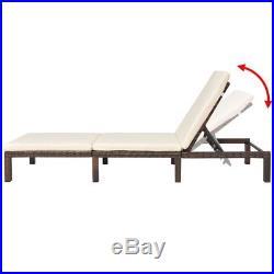VidaXL Patio Sun Lounger Poly Rattan Wicker Brown Recliner Outdoor Garden Bed