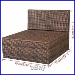 VidaXL Patio Wicker Rattan Garden Outdoor Sofa Lounge Sun Lounger Bed 2 Colors