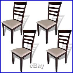 VidaXL Set of 4 Rubberwood Dining Chairs with Cream Fabric Seat Pads Kitchen