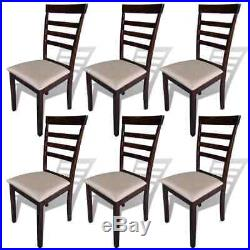 VidaXL Set of 6 Rubberwood Dining Chairs with Cream Fabric Seat Pads Kitchen