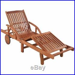 VidaXL Solid Acacia Reclining Chaise Sun Lounger with Cushion Outdoor Garden Patio