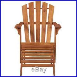 VidaXL Solid Acacia Wood Garden Adirondack Chair with Footrest Furniture